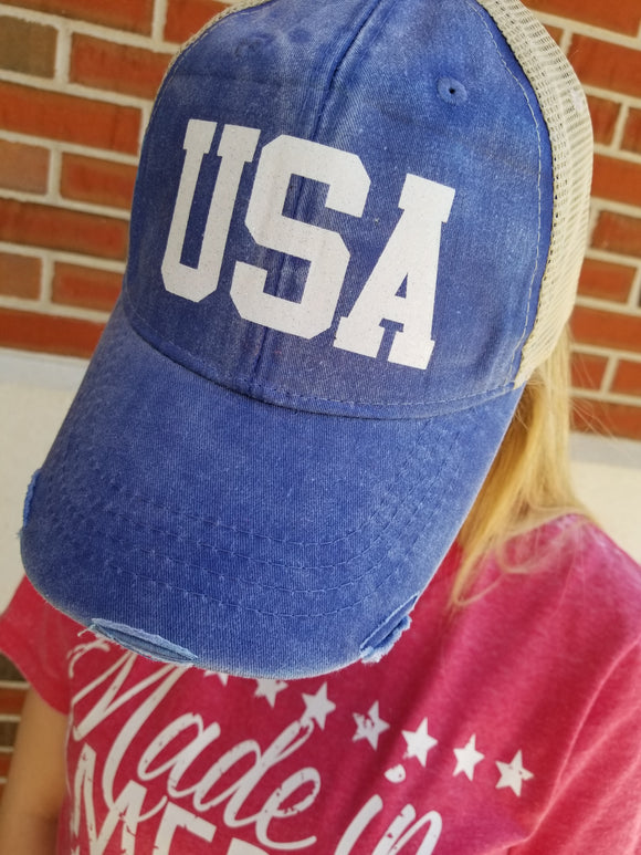 Distressed Glitter USA Mesh Back Trucker Hat