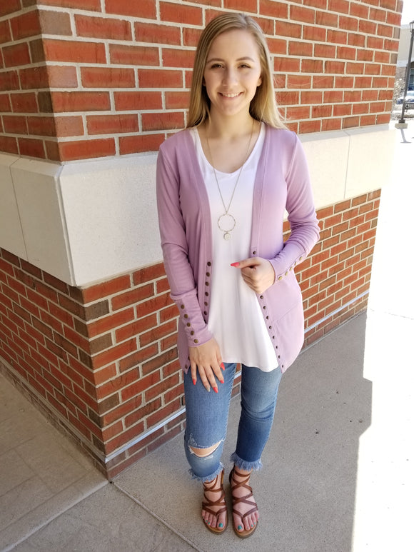 Gotta Have It Snap Front Cardigan - Lilac Frost