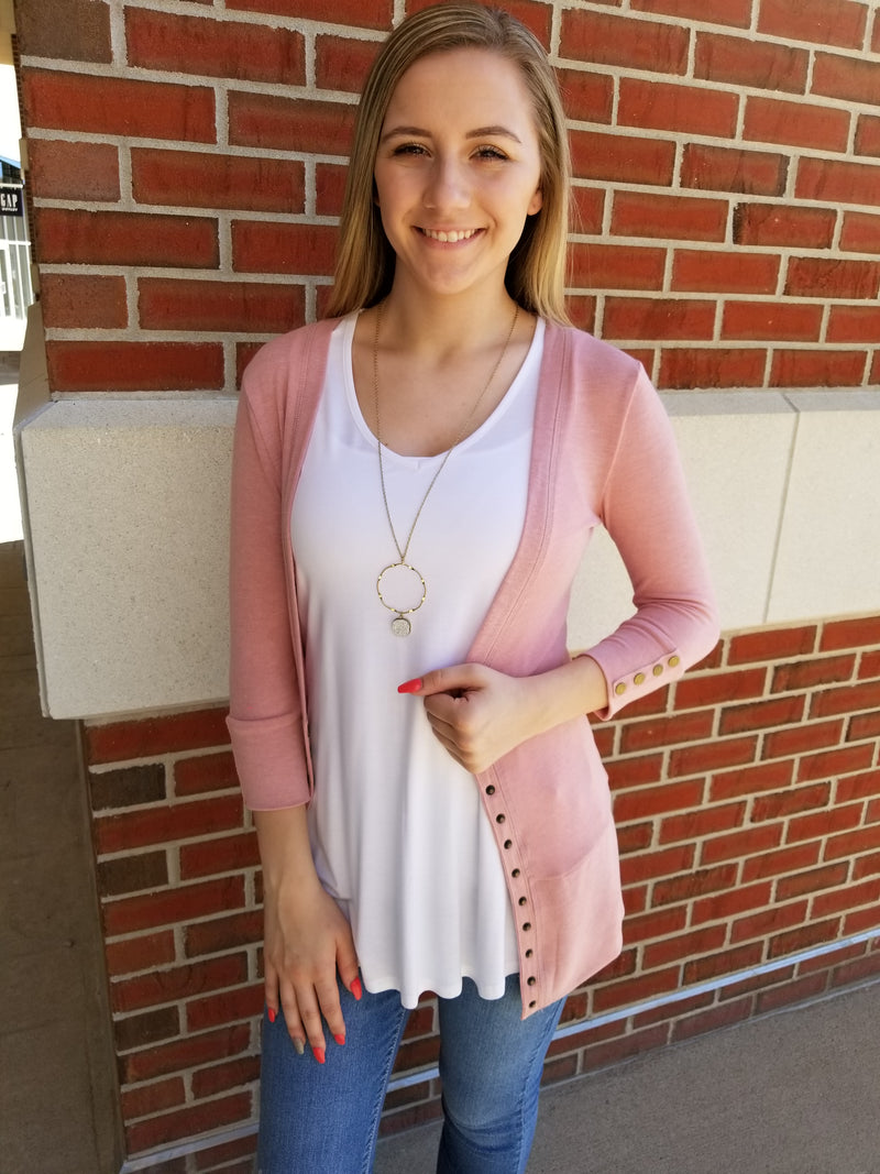 Gotta Have It 3/4 Sleeve Snap Cardigan - Blush