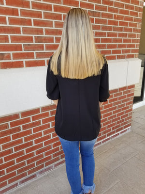Forever Happy Scallop Detail V-Neck Top