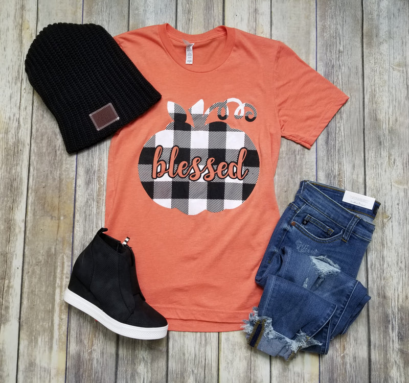 Blessed Buffalo Plaid Pumpkin Graphic Tee