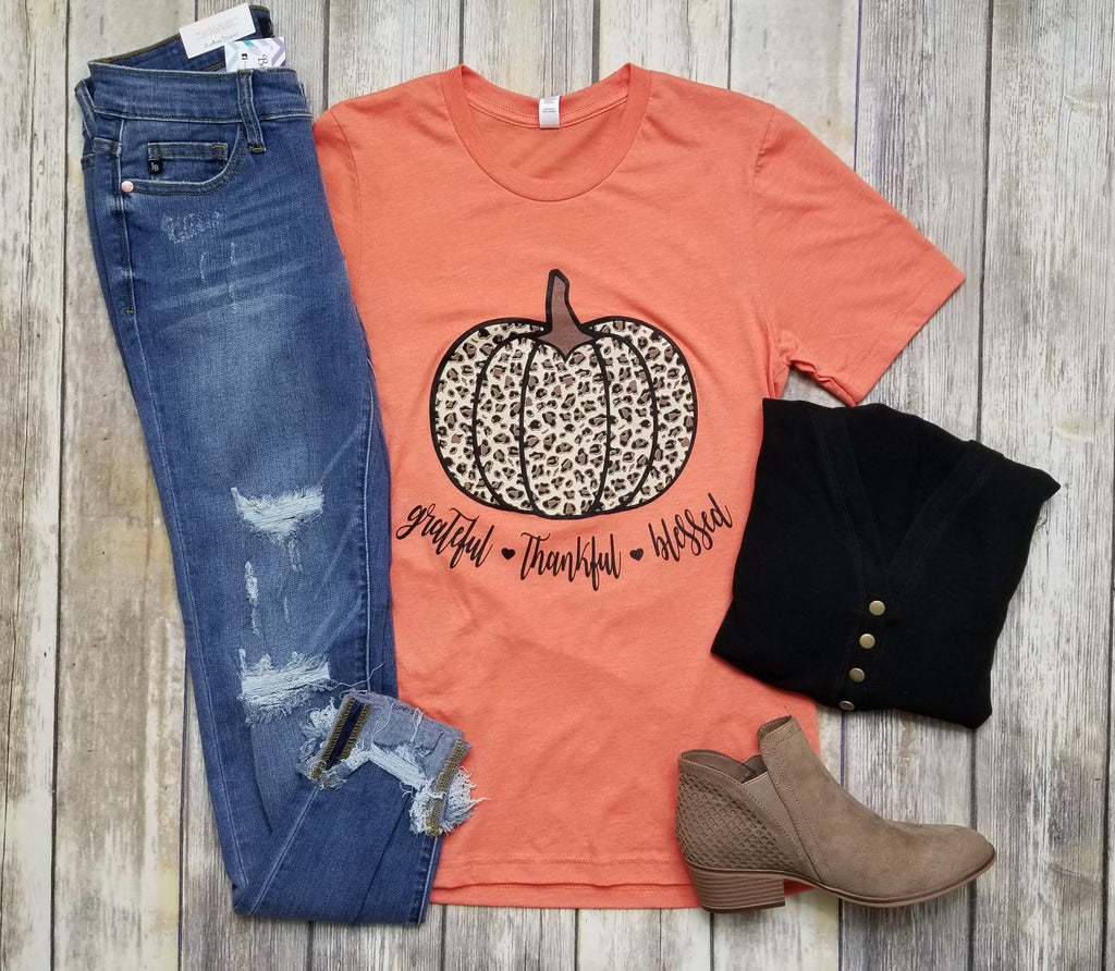 Grateful Thankful Blessed Leopard Pumpkin Graphic Tee