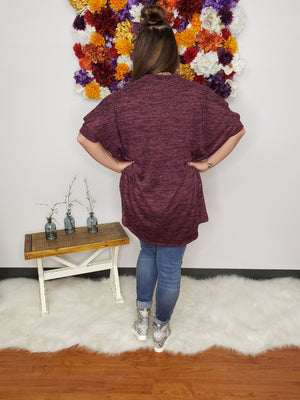 Plum Happy Heather Knit 3/4 Sleeve Open Front Cardigan