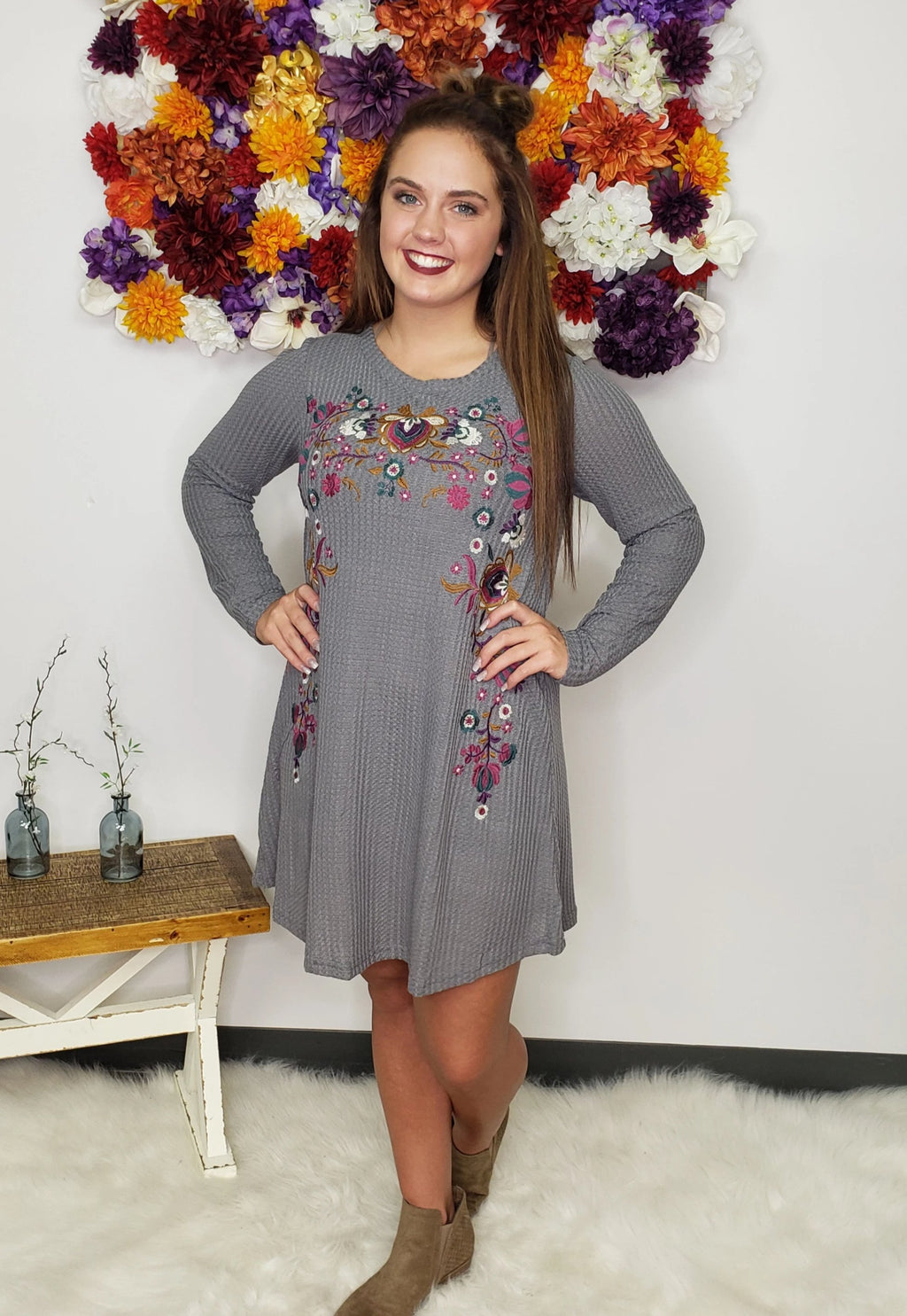Hello Fall Floral Embroidered Long Sleeve Waffle Knit Dress - Final Sale
