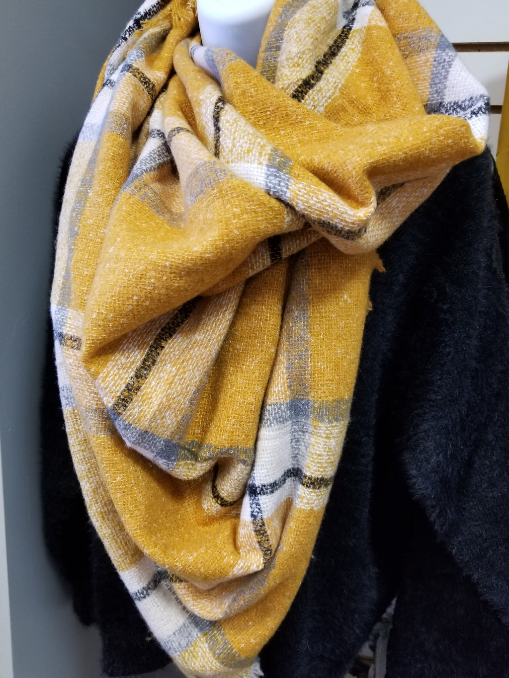 Mustard Plaid Blanket Scarf