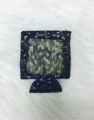 Camo Pattern Sequin Can Coolie
