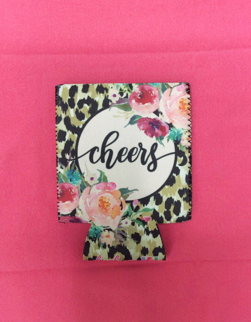 Cheers Leopard Floral Print Can Coolie