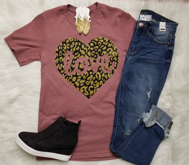 Love Gold Leopard Heart Graphic Tee - Final Sale