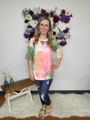 You're My Favorite Tie Dye Leopard Detail Top