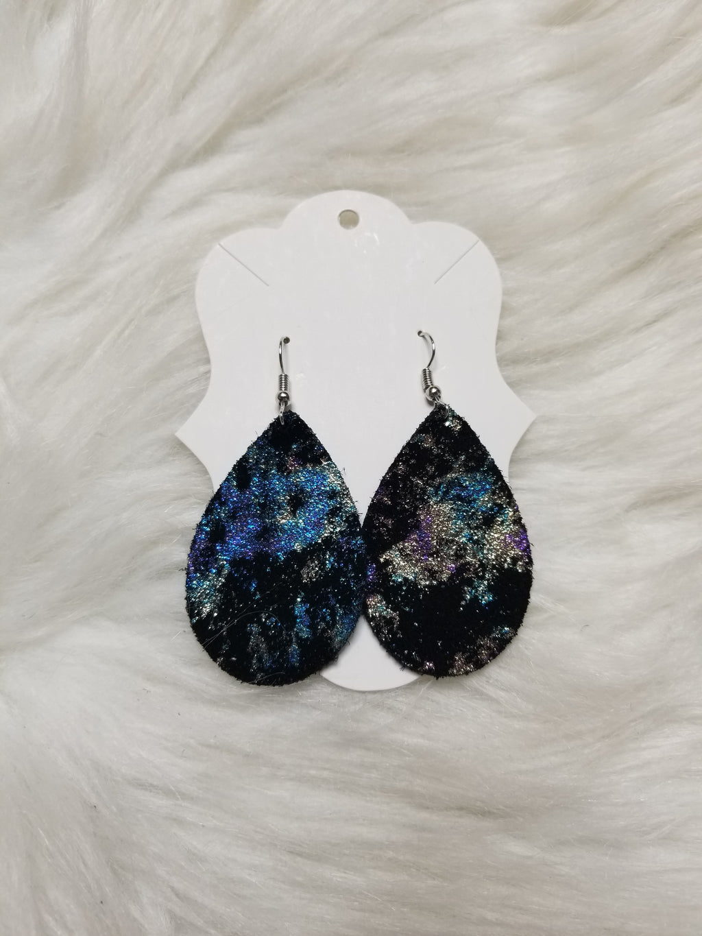 Black Galaxy Shimmer Leather Earrings