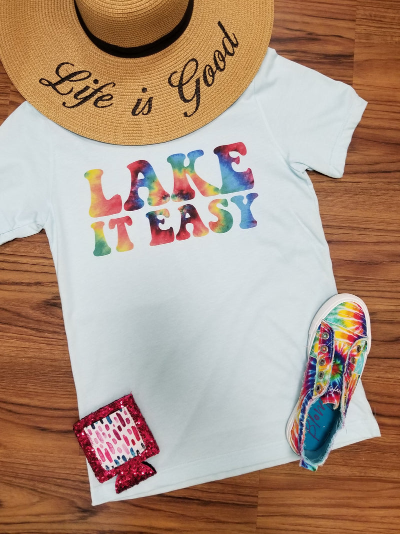 Lake It Easy Tie Dye Detail Graphic Tee