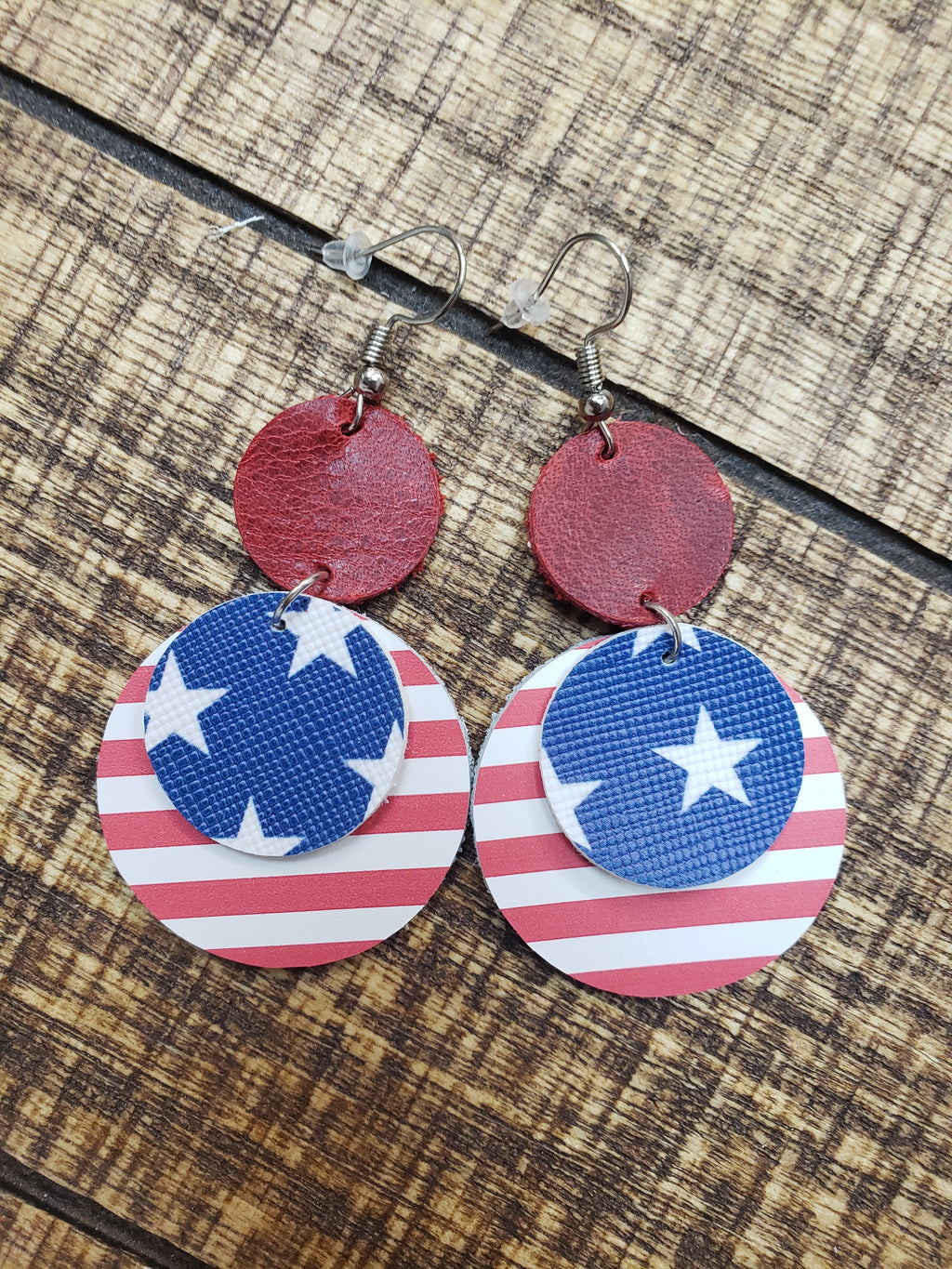 Red White Blue Leather Earrings Stars & Stripes