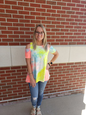 Neon Mix Cold Shoulder Tunic