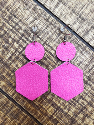 Neon Pink Hexagon Circle Earrings