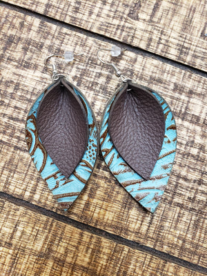 Double Layer Teal and Brown Earrings