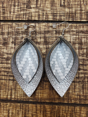 Double Layer Silver Shimmer Leather Earrings