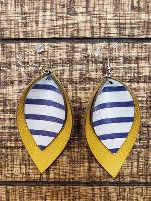 Double Layer Leather Earrings Navy and Mustard