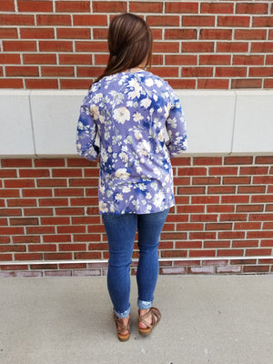 Floral 3/4 Sleeve Open Front Cardigan