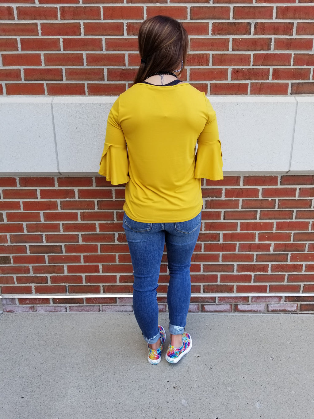 Solid 3/4 Sleeve Top - Mustard