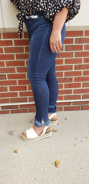 KanCan Mid-Rise Super Skinny Jeans With Side Slit and Frayed Hem Detail
