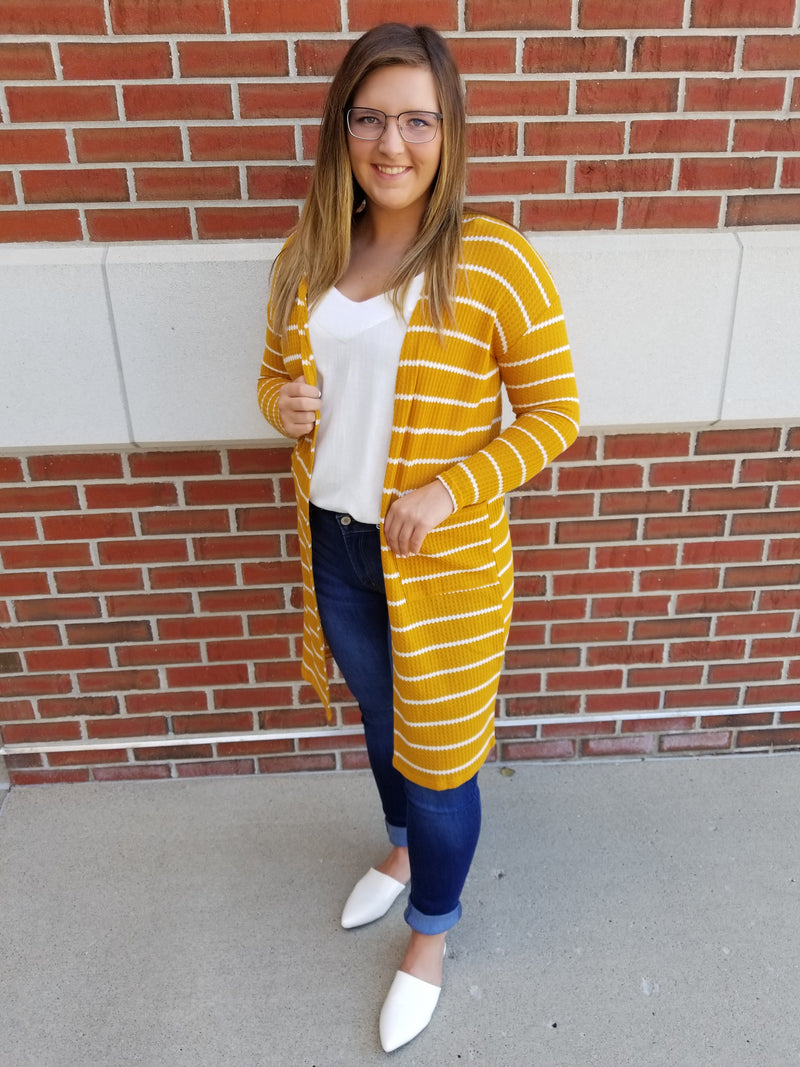 Striped Open Front Cardigan with Pockets - Mustard