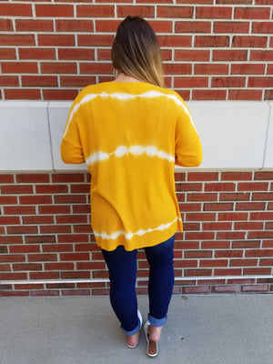 Tie Dye Tunic Length Open Cardigan - Mustard