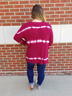 Tie Dye Tunic Length Open Cardigan - Burgundy