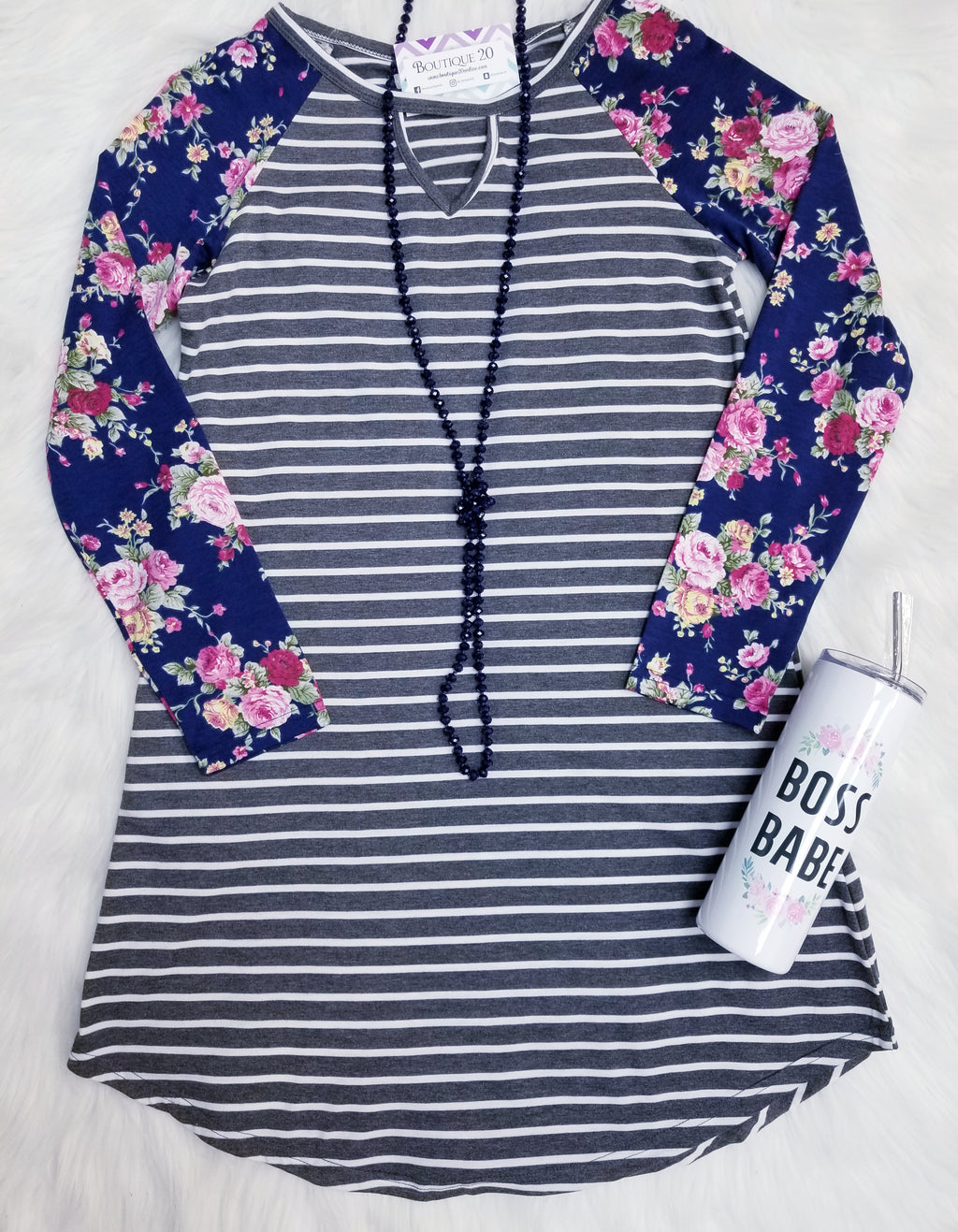 Floral Print Contrast Sleeve Striped Tunic Dress