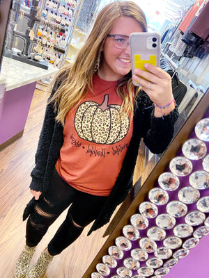 """Thankful Grateful Blessed"" Graphic Tee With Leopard Pumpkin"