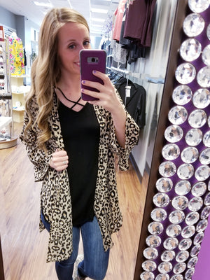 Animal Print Side Slit Cardigan Kimono