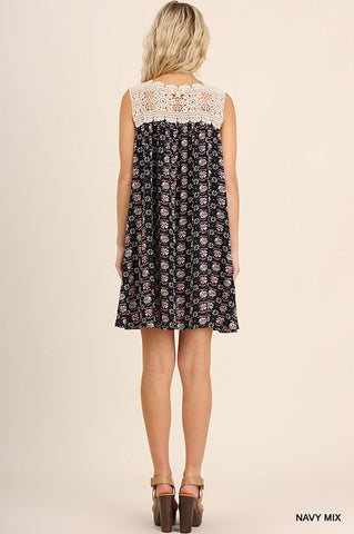 Floral Print Keyhole Front with Crochet Back Detail