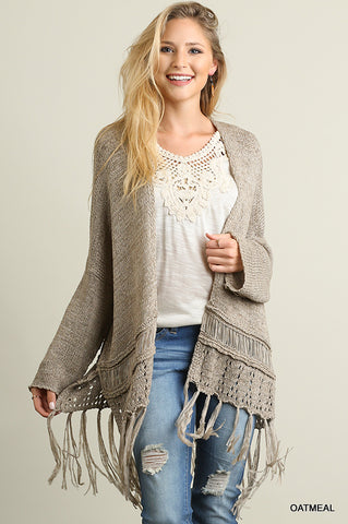 Knit Cardigan With Fringe Detail
