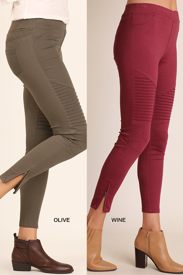 Washed Moto Jeggings with Ankle Zipper Detail-Final Sale