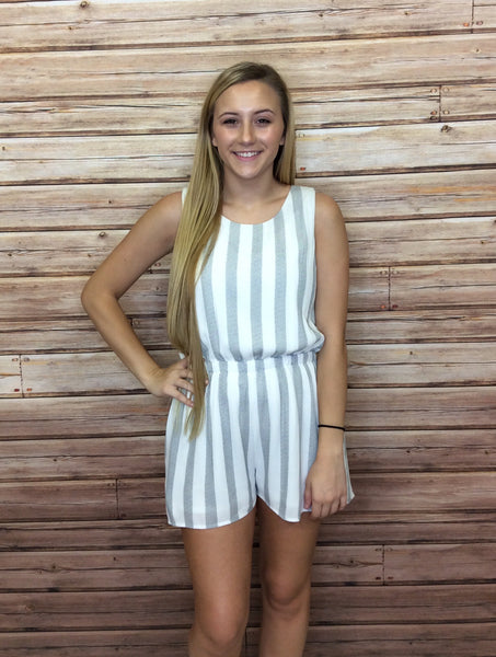 Striped Scallop Open Back Romper with Pockets