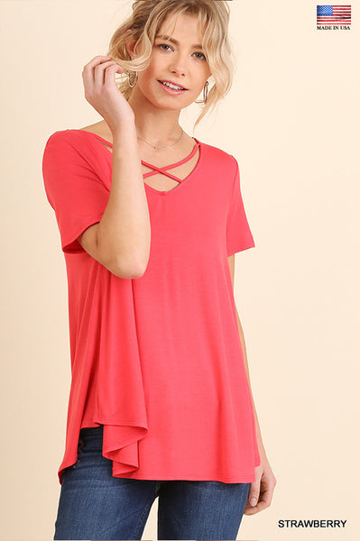 Solid Tee With Criss-Cross Neckline