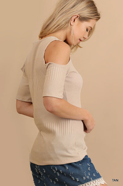 Open Shoulder Top With Ribbed Detail