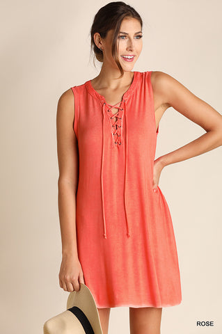 Washed Sleeveless Dress with Lace Up Neckline