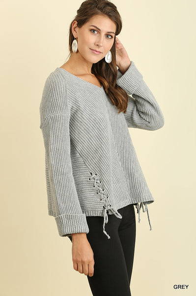 V-Neck Sweater with Side Drawstring Details