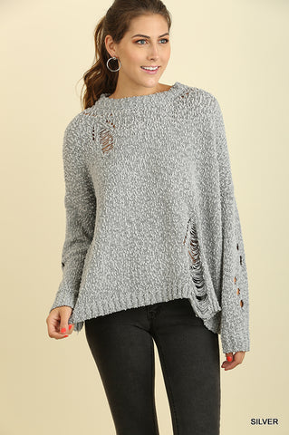 Long Sleeved Sweater With Cutout Destructed Detail