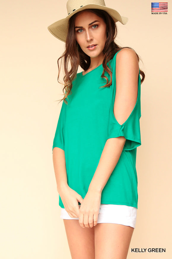 Solid Cutout Sleeve Top