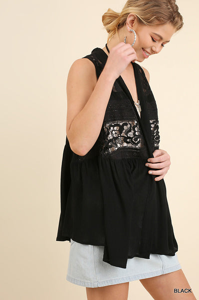 Open Front Vest with Embroider Detail