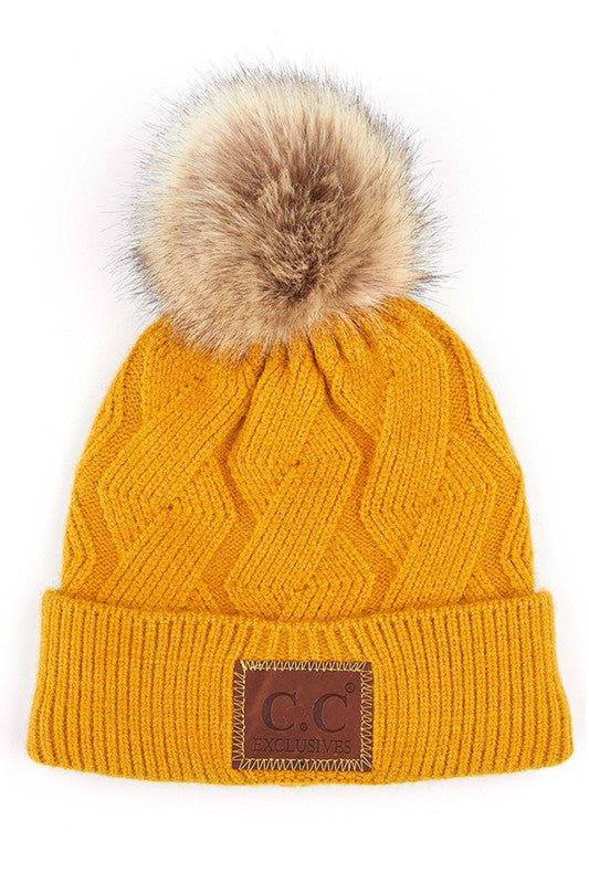 CC Geometric Cable Beanie Hat with Faux Fur Pom