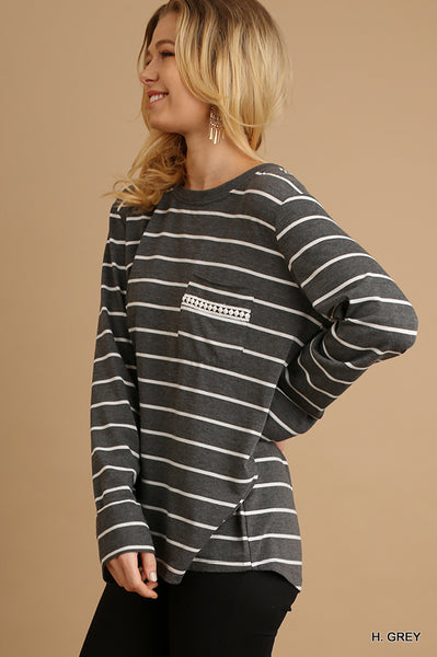 Striped Top With Drawstring Back Detail