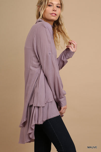 Button Up Tunic with Roll Up Sleeves