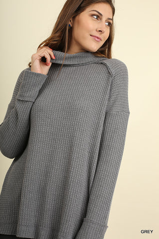 Cowl Neck Tunic with Back Slit and Striped Back Detail