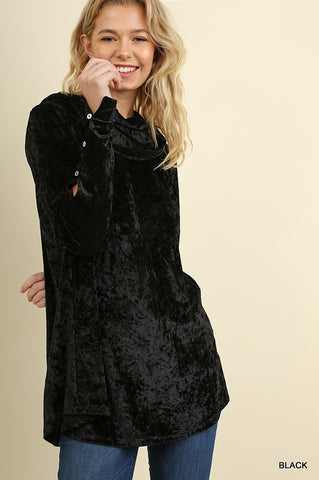 Velvet Cowl Neck Tunic with Button Detail on Sleeves