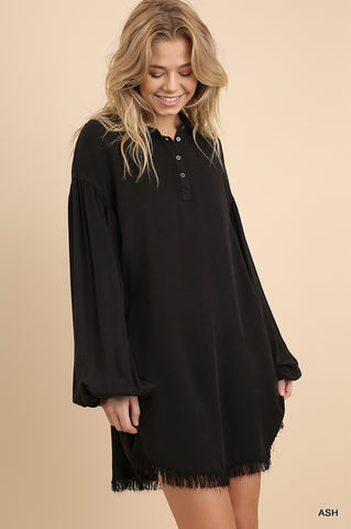 Puff Sleeve Mineral Washed Buttoned Dress with Pockets