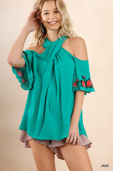 Jade Wrap Front Halter Neck Top with Floral Embroider Detail