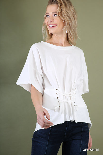 Short Sleeve Round Neck Top with Corset Drawstring Detail