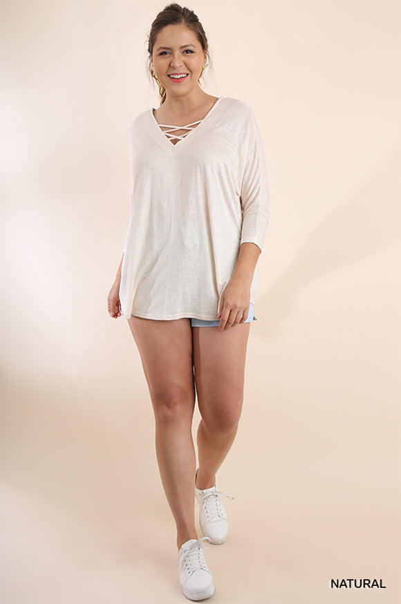 Basic 3/4 Sleeve Scoop Hem Criss Cross Front & Back